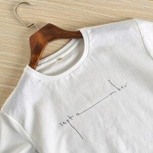 Image 3 - קיץ Mens מודפס פשתן חולצות אופנה שרוולים אותיות לנשימה פשתן חולצה מצויד קצר שרוול עגול צווארון רופף בסוודרים