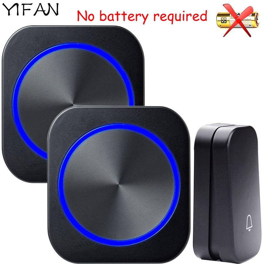YIFAN Self-powered Drahtlose Türklingel keine batterie Wasserdichte 150 mt Remote EU Stecker home Tür Glocke Chime ring 1 2 taste 1 2 empfänger