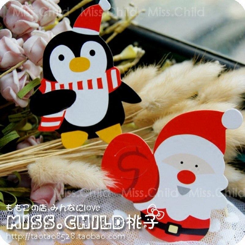 இ50 pcs Belle Pingouin Santa Claus De Noël Bonbons Sucette