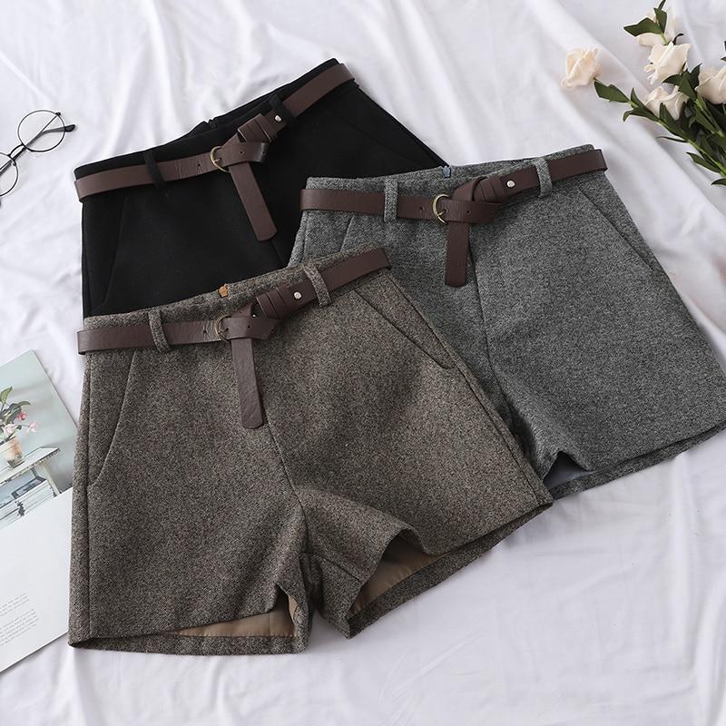 High Waist Wide Leg   Shorts   Women's Spring Autumn 2019 New Woolen   Shorts   Girls Ladies Casual Wool Blend Trousers Boots   Shorts
