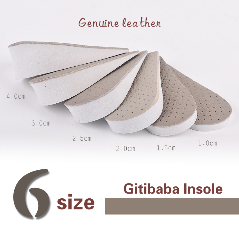 Половина увеличивающая рост обувь стельки для Для мужчин до 15 до 40 мм из свиной кожи стельки Вставки Уход за ногами колодки кожа материал ...