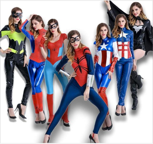 8aac90f387 Halloween party dress for women super Heroes Adult Spider Man costumes  captain america Spider-Man cosplay Performance Clothes