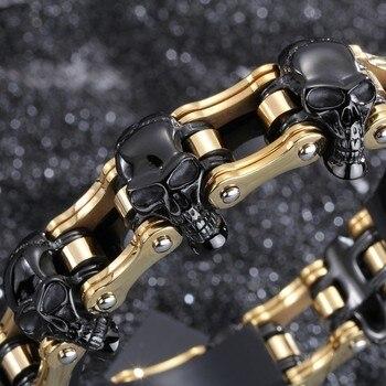 Punk Style 316L Stainless Steel Men Bracelet  Yellow  Gold  Hand Link Black Skull Bike  Motocycle Chain Bracelets