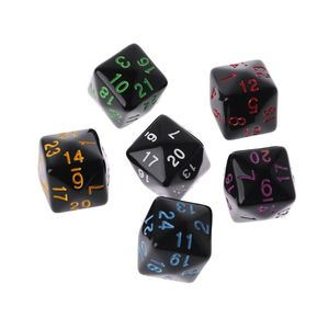 6 Pcs/Set Game Dice 6 Sided D6 24 Points Table Games Desktop Polyhedral For Dungeon DD Dragon Games Party Funny Play Creative