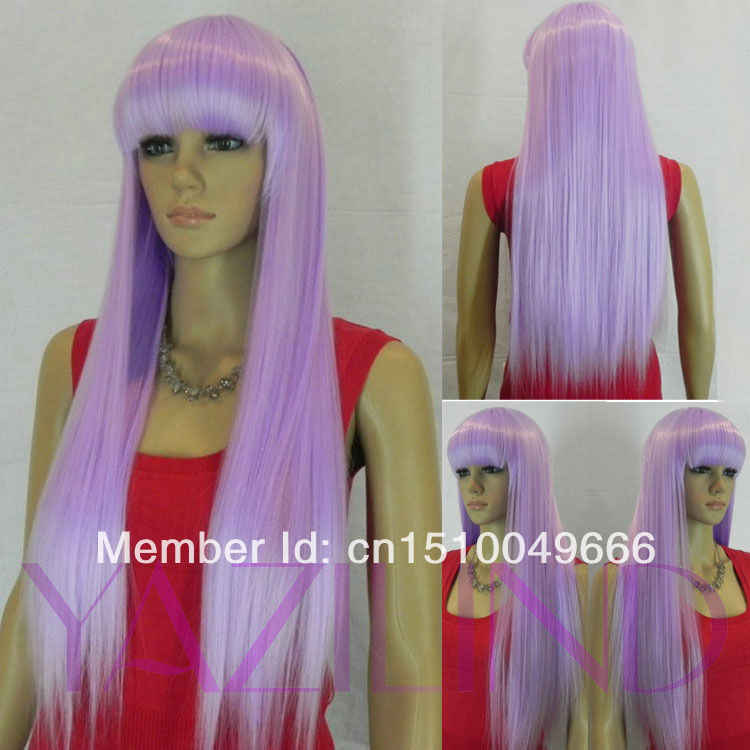 FREE SHIP>>>gorgeous white lilac purple straight cosplay party full bangs woman lady wig