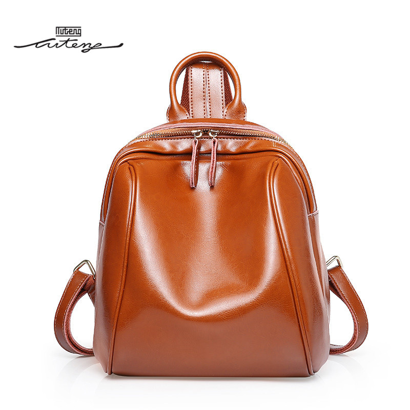 TU-TENG Women School Backpack Luxury Pack Female Casual Genuine Leather Mini Backpack Fashion Ladies Zipper Red Black Pack 2018 tu teng women elegant doctor bag 2 way tote luxury leather pure color 2018 fashion zipper elegant design lady black khaiki red