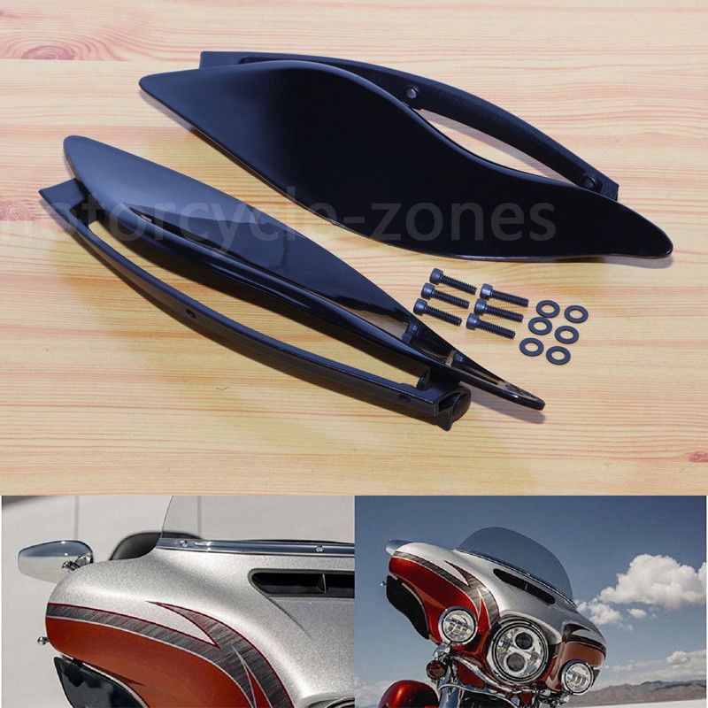 Smoke Black Adjustable ABS Plastic Adjustable Batwing Fairing Windscreen Side Wings Air Deflectors Upper Fairing Windshield For Harley Touring Electra Street Ultra Limited Tri Glide 2014-2017