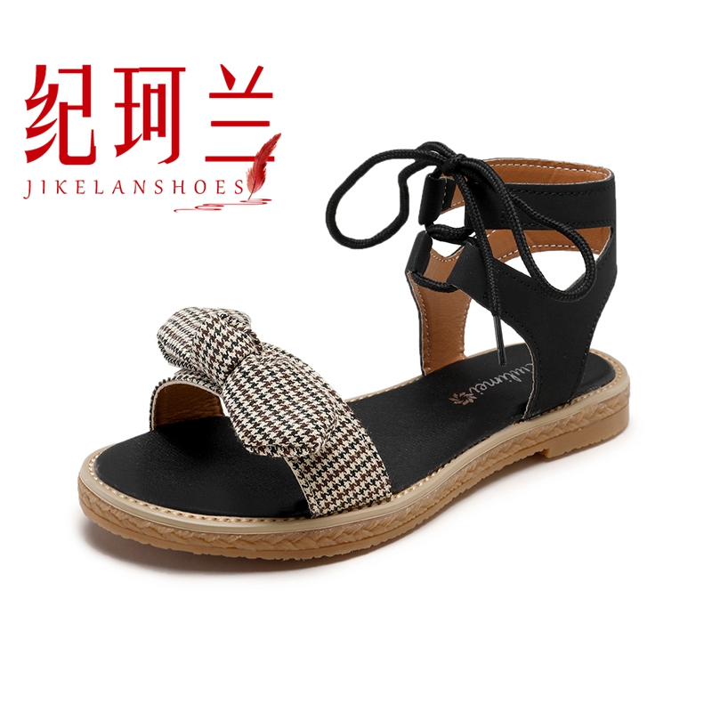 Sandals women's flat shoes bow 2019 summer new students cute fairy trend women's shoes 34