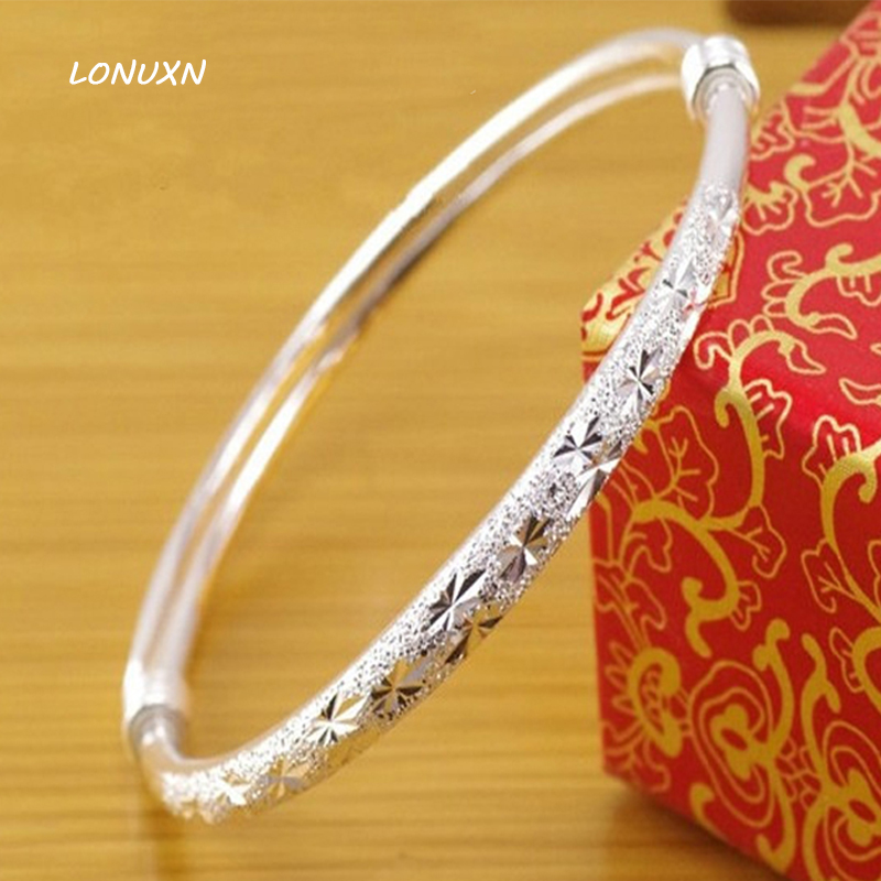 9 styles genuine 999 Sterling Silver Bracelet bangles female Top Quality Scrub stars Pattern Beautiful lovers best gift with box