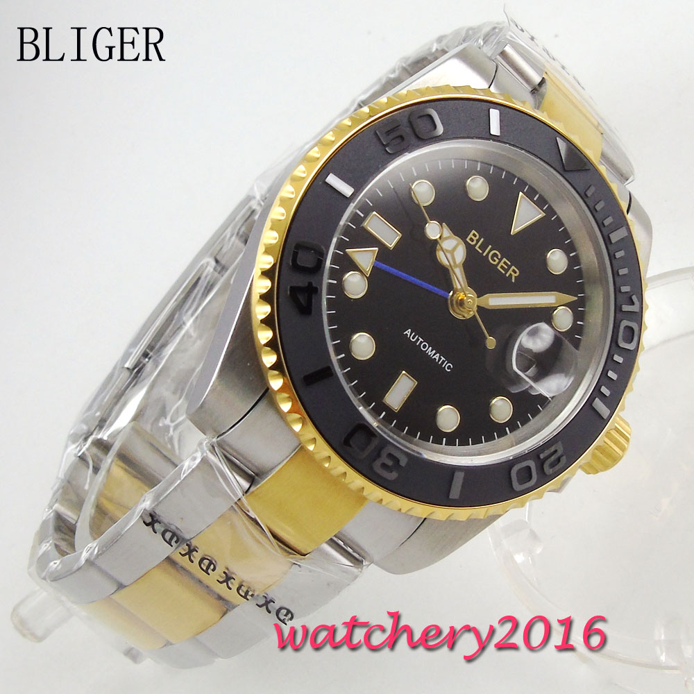 цены 40mm Bliger Sterile black dial Luminous Hand Newest Sapphire Crystal Deployment Clasp GMT Automatic Mechanical Men's Wristwatch
