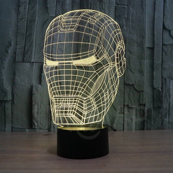 JC-2822 3D illusion iron man mask shape LED table lamp as gift free shipping  (3)