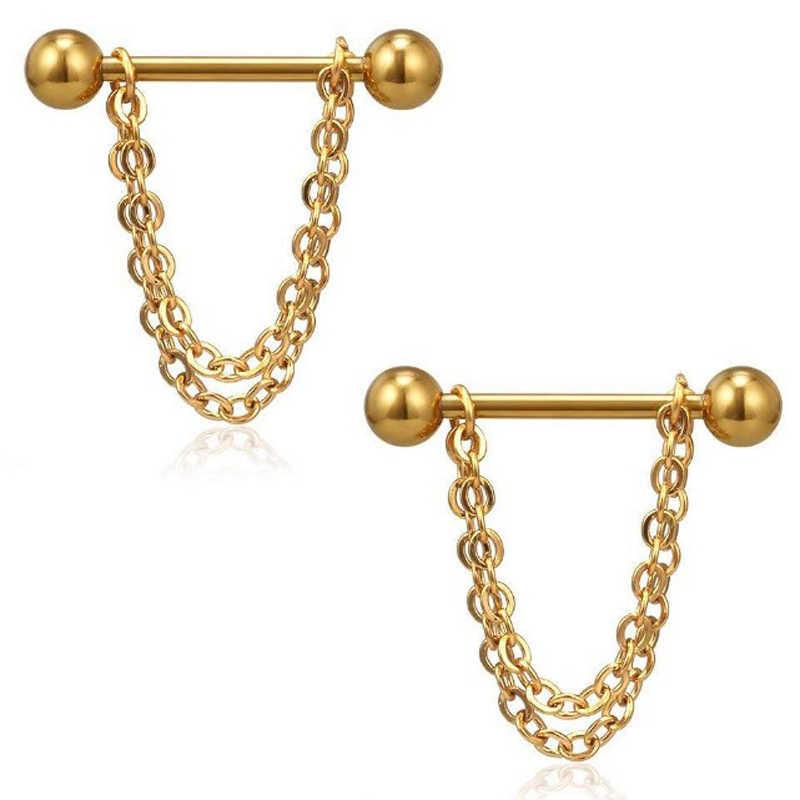 2 pcs aço inoxidável piercing coração seta longa corrente em linha reta barra mulher homem umbigo studs punk jóias 5 estilo preto/ouro