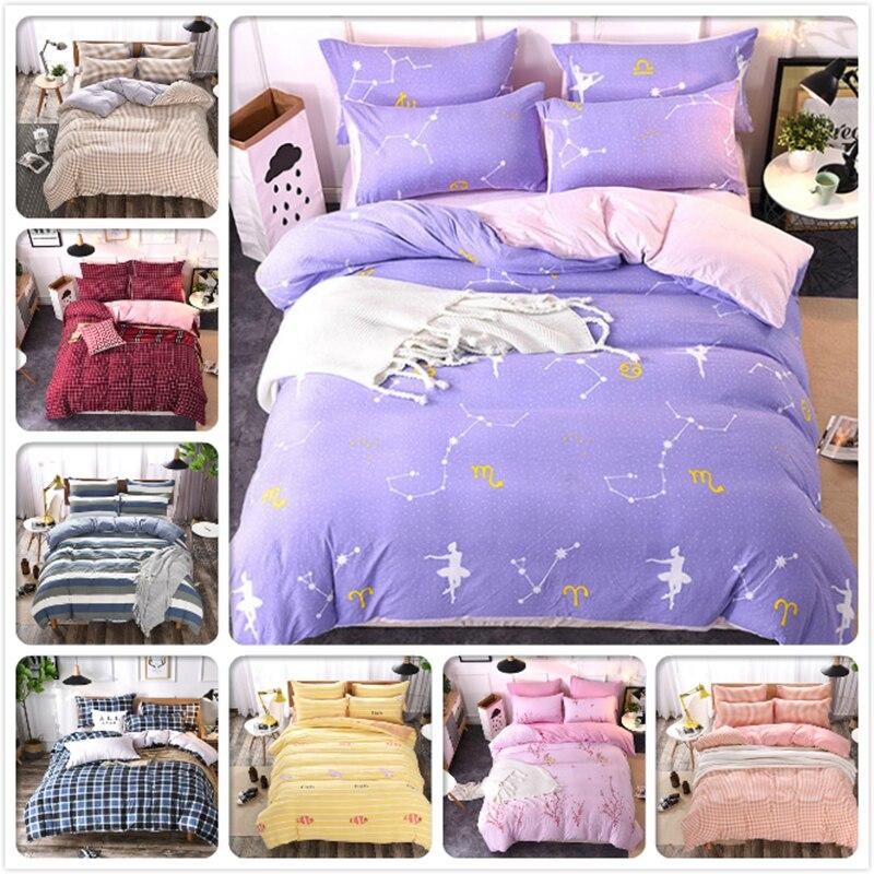 Power Source Brilliant Star Sky Blue Pink Bedlinens 3/4 Pcs Bedding Set 1.5m 1.8m 2m 6 Feet Bedsheet King Queen Double Size Duvet Cover Bedclothes Kids