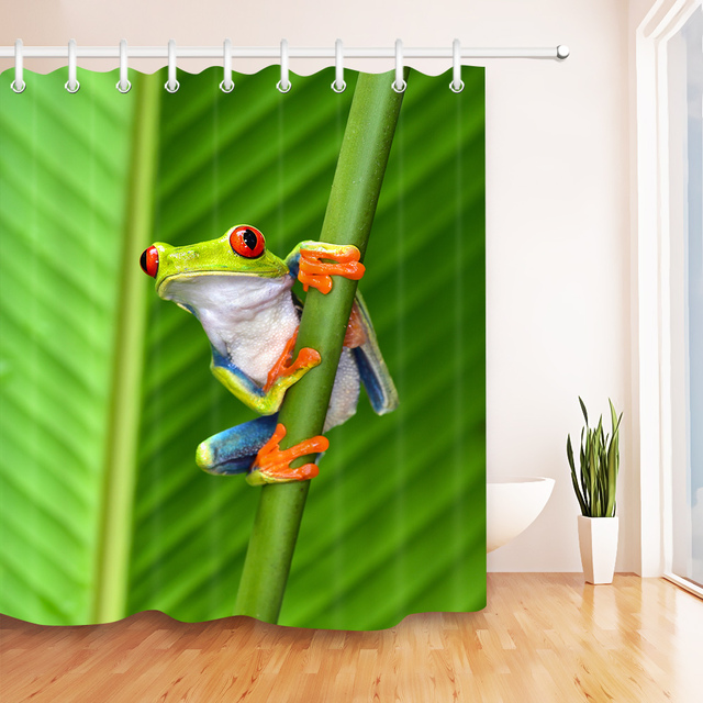 LB 180180 Cartoon Red Eyed Green Tree Frog Shower Curtain Polyester Waterproof Bathroom Curtains Fabric For Bathtub Home Decor