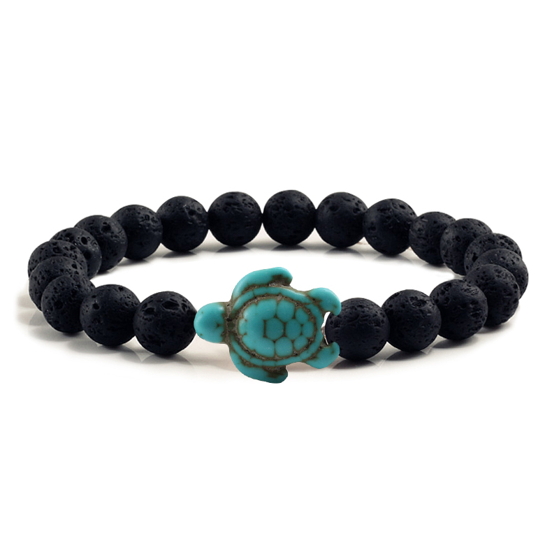 Summer Beach Sea Turtle Beads Bracelet for Men Charm Black Lava Natural Stone Bracelet Hamdmade Strand Elastic Bangles Jewelry