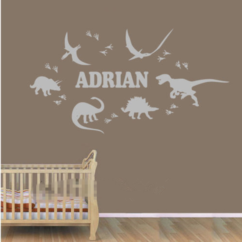 Dinosaur Footprint Custom Personalized Name Wall Sticker Boy Decal Nursery  Decor Wall Stickers For Kids Room Boys Wall Decals In Wall Stickers From  Home ...