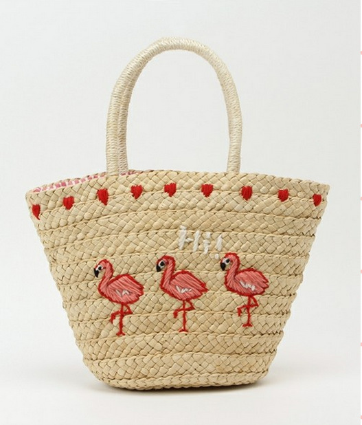 где купить Summer New Pattern Embroidery Straw Plaited Flamingo fish On Vacation Sandy Beach Package Weave Bag Single Shoulder Woman по лучшей цене