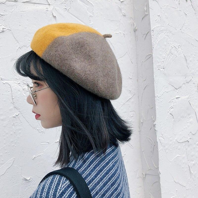 2018 Winter Herbst Baskenmütze Hüte Frauen Farbverlauf Wolle Baskenmütze Hüte Weibliche Bonnet Cap Winter Warm Wandern Hut Kappe Für Mädchen Knitterfestigkeit