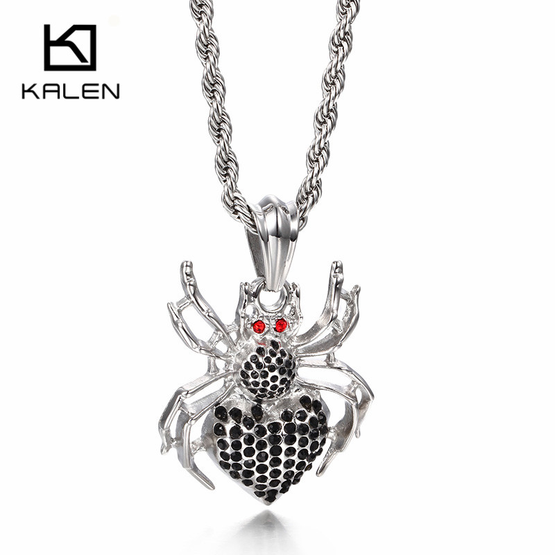 Kalen new gothic spider pendant necklaces for men high quality kalen new gothic spider pendant necklaces for men high quality stainless steel red eyes spider pendant necklaces hip hop jewelry in pendant necklaces from aloadofball Image collections