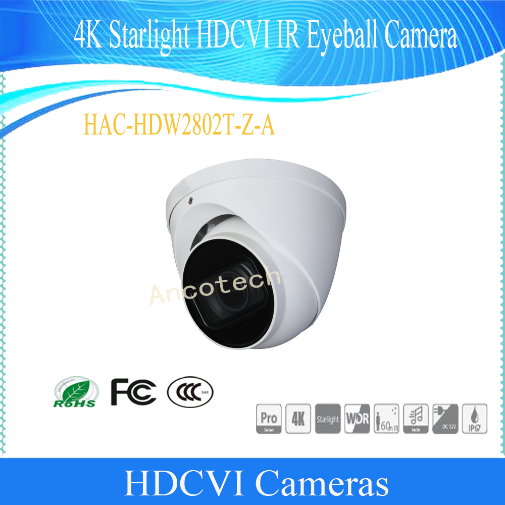 Dahua Free Shipping Security Camera CCTV 4K Starlight WDR HDCVI IR Eyeball Camera IP67 Without Logo HAC-HDW2802T-Z-A free shipping dahua cctv camera 4k 8mp wdr ir mini bullet network camera ip67 with poe without logo ipc hfw4831e se