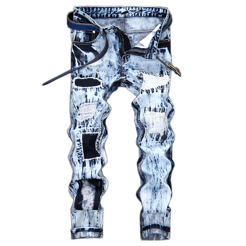 Fashion light blue Men Ripped Jeans Pants Slim Fit Distressed Denim Trousers Male Novelty Embroidered Hole Straight Casual Jeans
