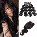 8A Peruvian Body Wave Virgin Hair With Closure 4 Bundles HCDIVA Hair Company Peruvian Wet And Wavy Virgin Hair With Closure