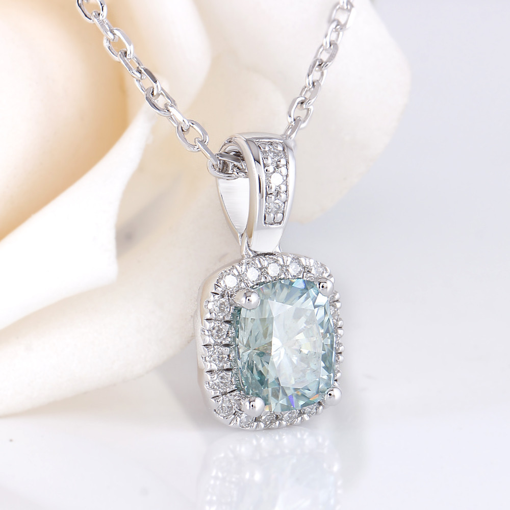 6X7mm Cushion Cut Slight Blue Moissanite Halo Pendant Necklace with Accents(4)