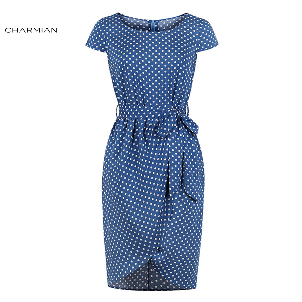 Charmian Women's Sexy Bodycon Dress Vintage Royal Blue&Living-Coral Polka Dots Round Neck High Waist Midi Tube Dress