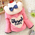 2016 New Winter baby girls outerwear thicker hooded with bow and letter print fashion girl coats clothes A310
