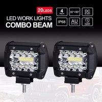 2 pçs/lote 60 w SUV LED Trabalho Lâmpada Spot Light DC 12 v 24 v Combo Feixe Offroad Carro Motocicleta SUV Condução Noite Iluminação IP68