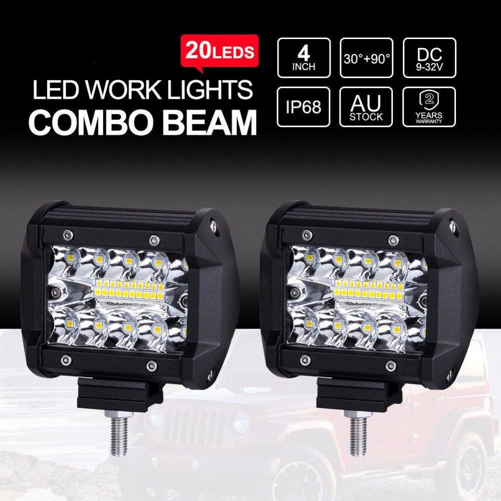 2PCS/Lot 60W SUV LED Work Lamp Spot Light  DC 12V 24V Combo Beam Offroad Car Motorcycle SUV Night Driving Lighting IP68 Novelty Lighting     - title=