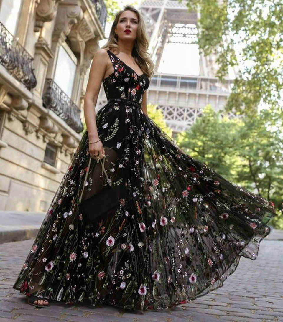 60d5a2fc6e ... Sexy Black Bohemian Long Prom Dresses 2018 Prom Press Women Party V-neck  Tulle Embroidery ...