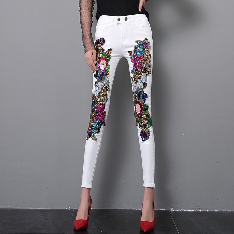 2018 Spring and Summer Women's Sequins White Denim Pants Slim All-match Basic Pencil Pants Student Stretch Jeans Trousers