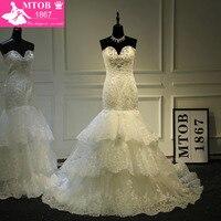 Designer Lace Mermaid Wedding Dress 2017 Robe De Mariage Sexy Sweetheart Shine Crystals Layered Skirt Wedding