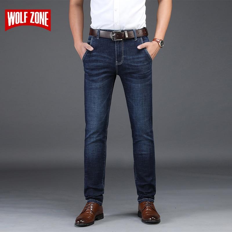 Fashion Business Casual Stretch Jeans Men Autumn Winter Skinny Mens Jeans Pants Famous Brand Denim Trousers Men's Big Size 28-42