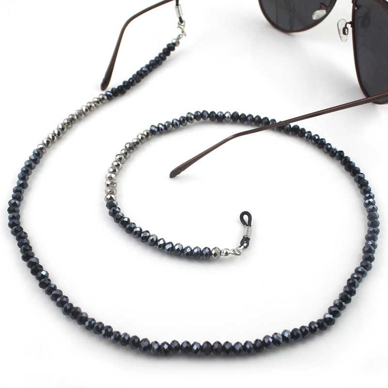 Shining Black Silver Gold Acrylic Beads Chain Glasses Chains Necklace Reading Glasses Cord Holder Neck Strap Rope for Eyewear