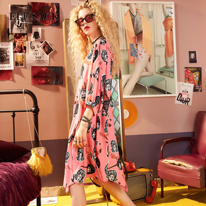 Image 1 - ELFSACK Summer Women Clothing Puff Sleeve Dress Womens Character Graffiti Printing Dresses O Neck Asymmetry Chic One Piece