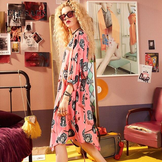 ELFSACK yaz kadın giyim puf kollu elbise bayan karakter Graffiti baskı elbiseler O boyun asimetri şık tek parça