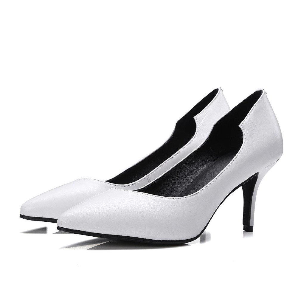 2017 New autumn fashion solid colors brand shoe pointed toe thin high heel temperament women pumps office lady work shoes 18 2017 new fashion brand spring shoes large size crystal pointed toe kid suede thick heel women pumps party sweet office lady shoe