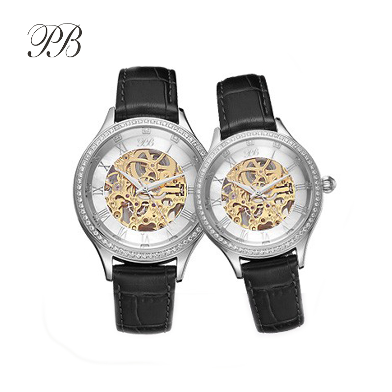 PB Brand Princess Butterfly Austrian Crystal Element Watch Luxury Waterproof Automatic Mechanical Leather Lover Wrist Watches
