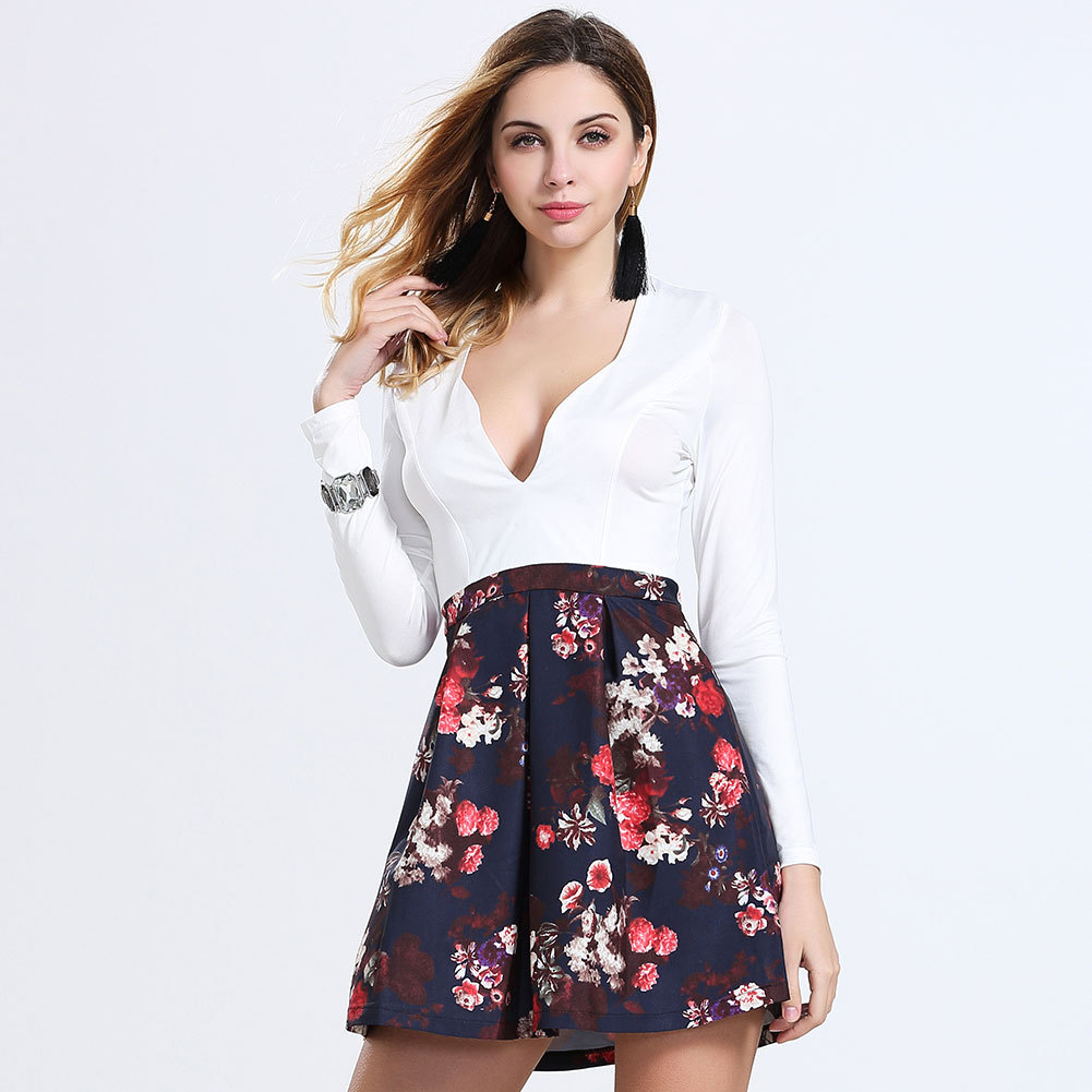 e627c492be Women Summer Sexy Low Cut V Neck Long Sleeve Floral Printed Mini Dress-in  Dresses from Women s Clothing on Aliexpress.com