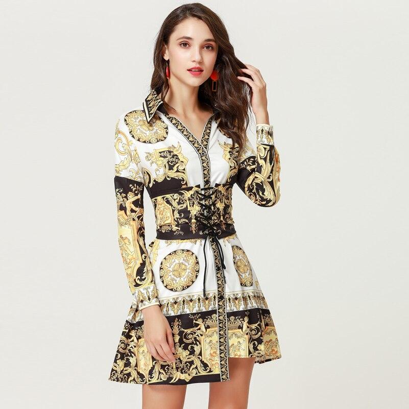 High quality designer fashion autumn short dress Women s Long Sleeve V Neck Vintage Print Belt
