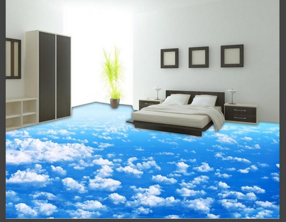 Customize Blue Sky and White Clouds 3D Mural Wallpaper Living Room Bathroom Kitchen 3D Flooring Photo Wallpaper customize leaves blue sky and white clouds 3d ceiling murals wallpaper living room bedroom