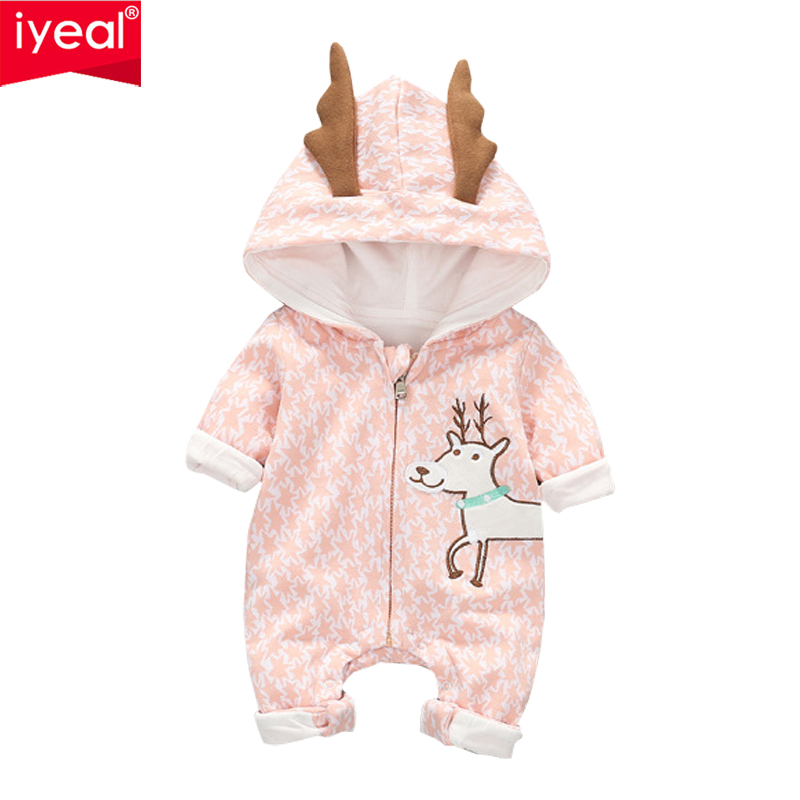 IYEAL Newborn Baby Girls Boys Romper 2018 Autumn Animal Pattern Kids Cotton Long-sleeved Hooded Deer Ears Children Baby Clothes