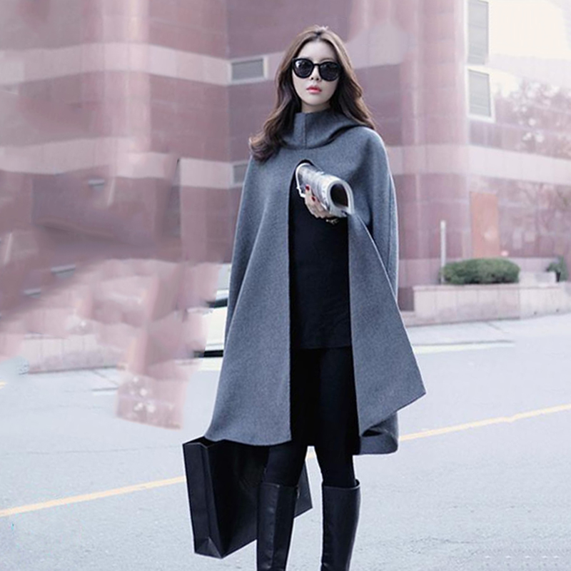 [XITAO] 2016 Women's long wide-waist cloak loose form solid color hooded sleeveless design open stitch fashion trench HJB-036