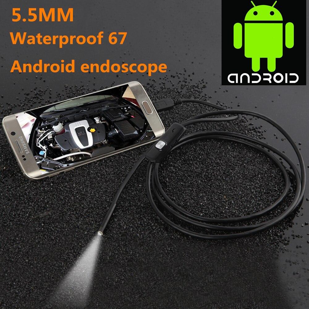 5.5 milímetros Lente 1 M/1.5 M/2 M/3.5 M/5 M Cabo USB À Prova D' Água 6 LED Endoscópio Android 1/9