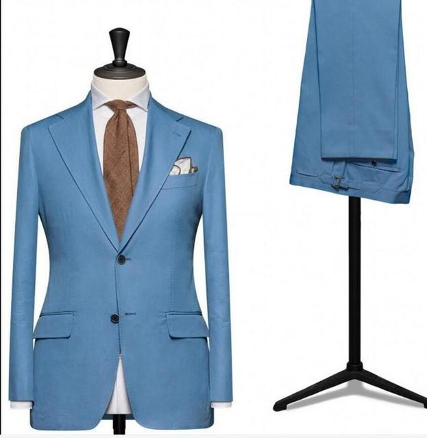 Blue Groom Tuxedos 2 Piece Custom Made Man Suit Slim Fit Mens ...