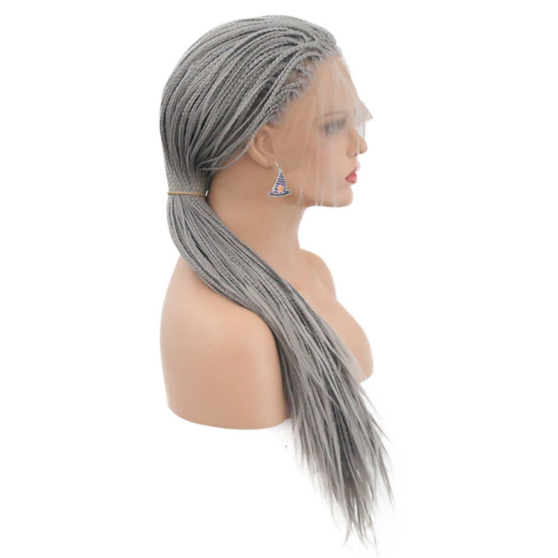 Bombshell Siver Grey Synthetic Braided Lace Front Wigs For Women Heat Resistant Fiber Hair Wigs Premium