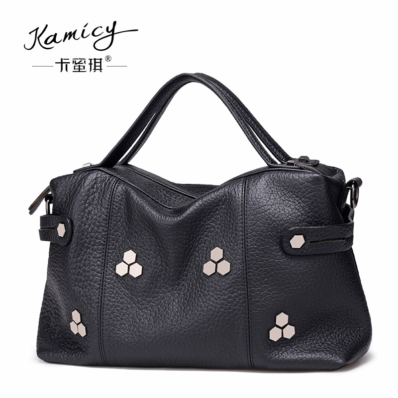 Bag lady in the summer of 2018 the new leather handbags fashion rivets large-capacity single shoulder bag stitching soft package woolen plaid stitching pu leather shoulder bag casual portable rivets tote bag pu handbags stitching woolen large capacity bag