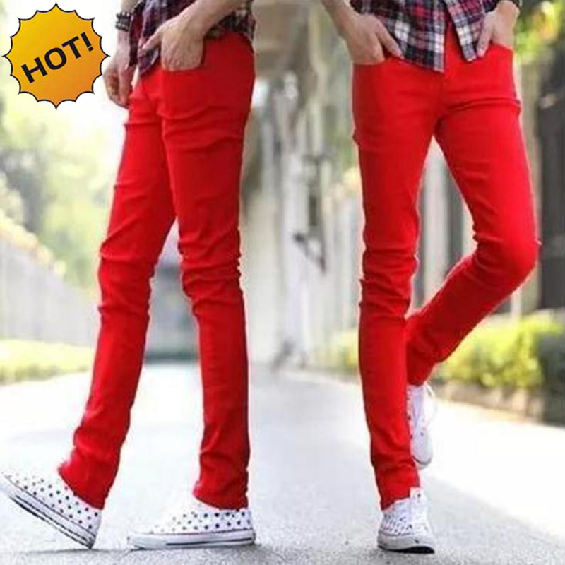 Hot Style 2016 Fashion Casual Solid Red Cuffed Leg Jeans Men Skinny Stretch Teenagers Pencil Pants